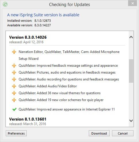 List of updates in iSpring Suite 8.3