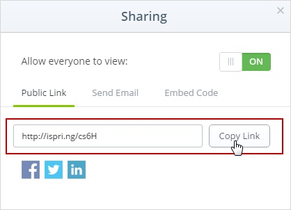 Sharing options in iSpring Cloud