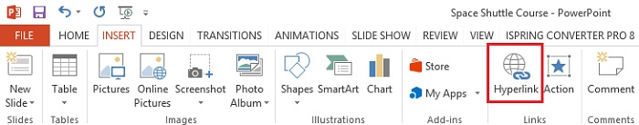 The Hyperlink button on the PowerPoint toolbar