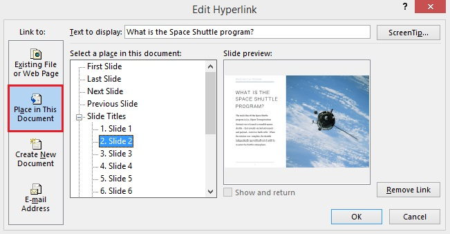 Place in This Document in the Edit Hyperlink window