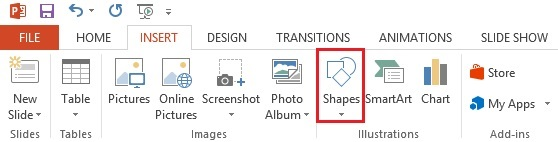 The Shapes button on the PowerPoint toolbar