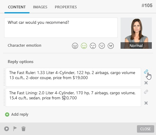 Linking reply options to new scenes