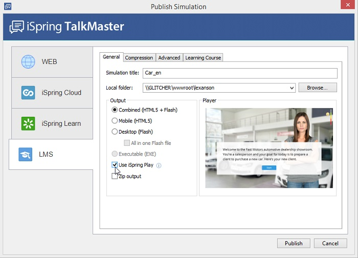 The Publish Simulation window in iSpring TalkMaster