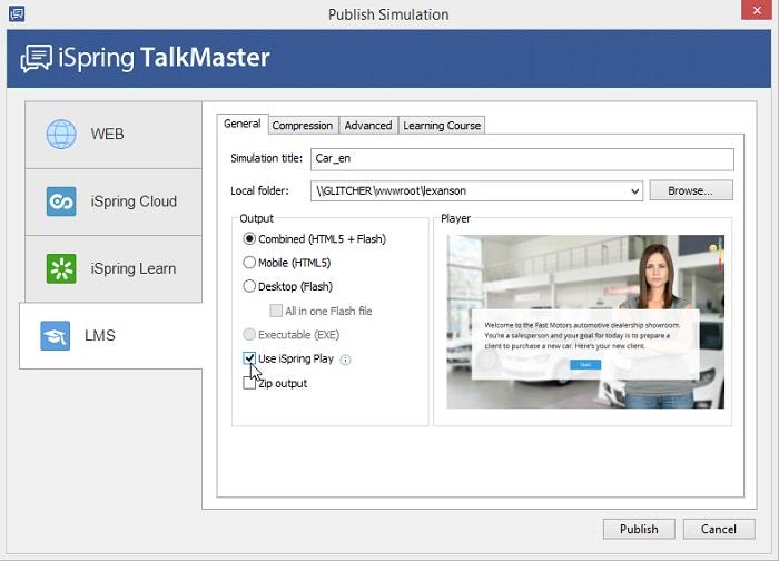 The Publish Simulation window in iSpring TalkMaster