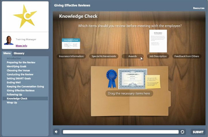 The drag-n-drop question in Articulate QuizMaker
