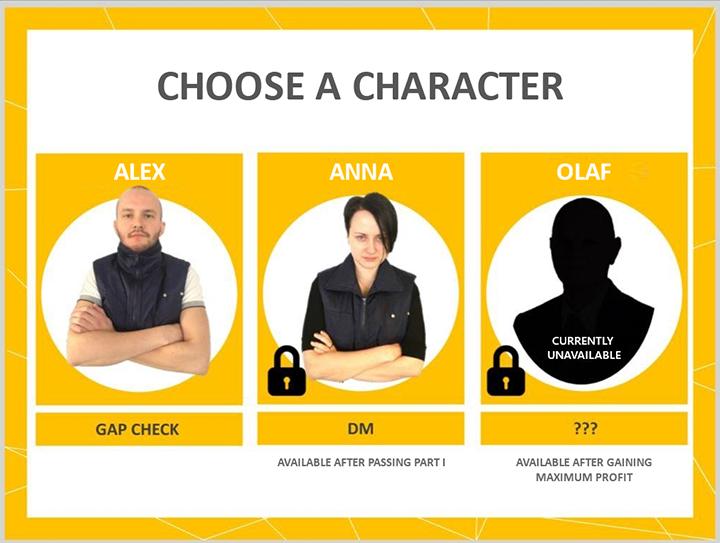 Einen Charakter in einem interaktiven Spiel auswählen