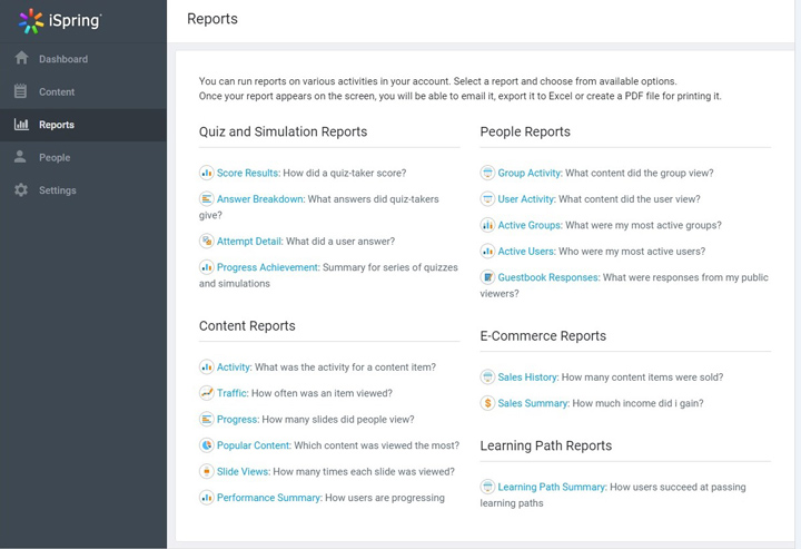 Types of reports in iSpring Learn LMS