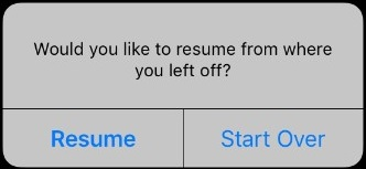 The resume option in the iSpring Learn mobile app