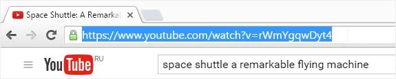 YouTube address bar link