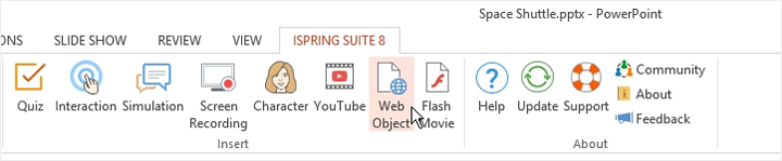 The Web Object button on the iSpring ribbon