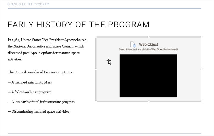 The PowerPoint slide with the Web object inserted
