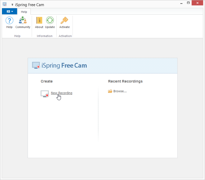 The iSpring Free Cam starting window