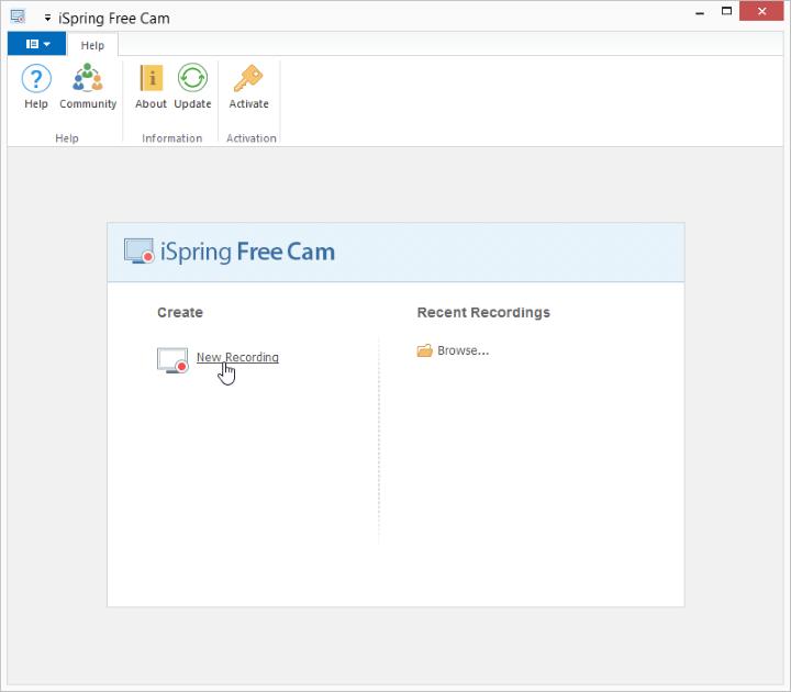The iSpring Free Cam starting window
