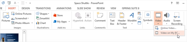 Inserting video in PowerPoint
