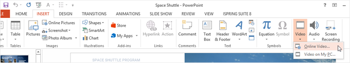 The Insert ribbon in PowerPoint