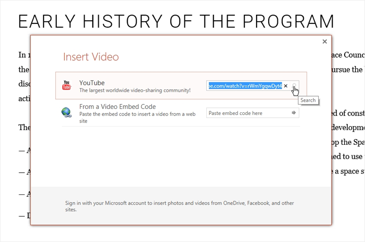 The Insert Video window in PowerPoint