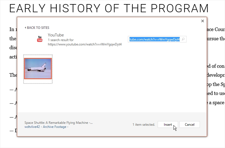 Inserting the video into PowerPoint