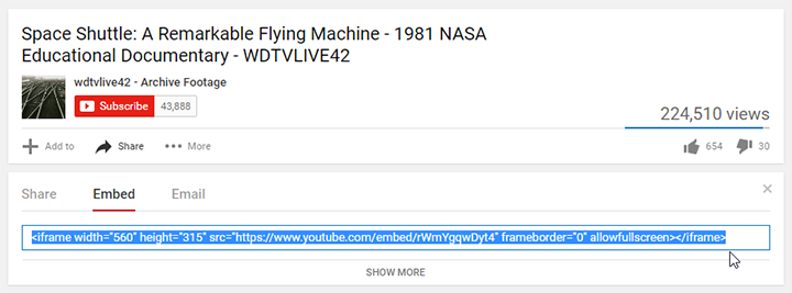 Copying an embed code from YouTube