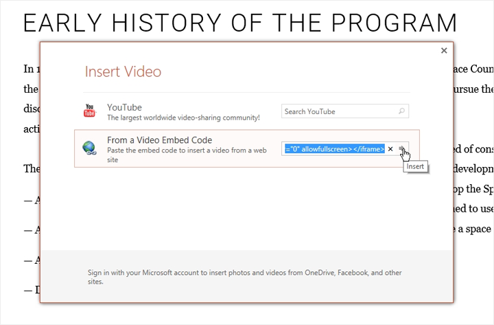 Insert Video window in PowerPoint