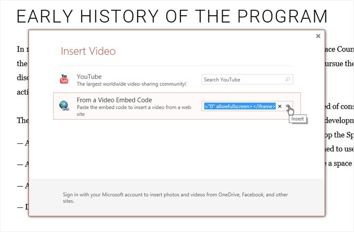 Insert Video window in PowerPoint