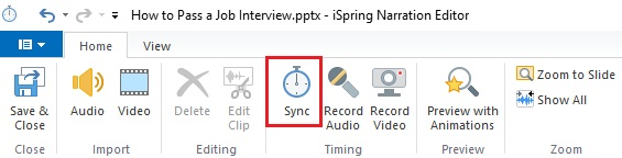 The Sync button on the editor's toolbar