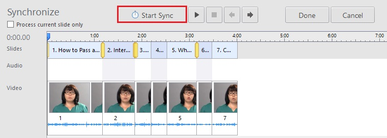 The sync panel in the iSpring Narration Editor