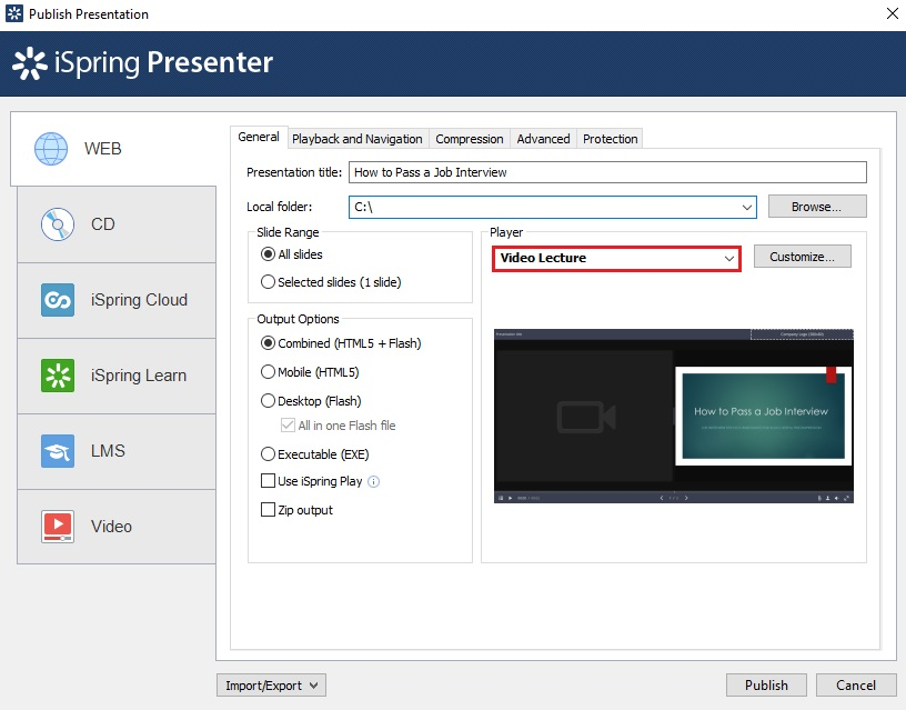 The iSpring Suite Publish Presentation window