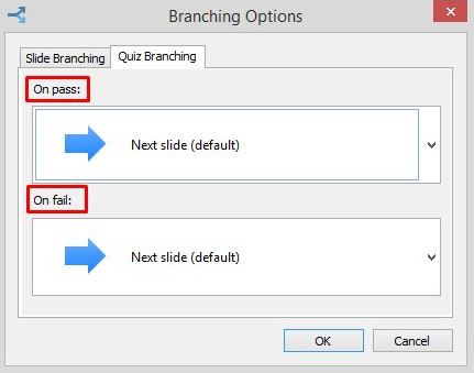 Branching options for a quiz in Spring Suite 8