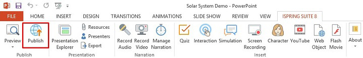 The Publish button on the Spring Suite 8 toolbar