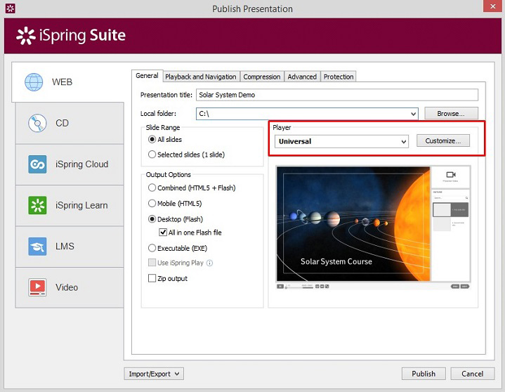 The Publish Presentation window in Spring Suite 8