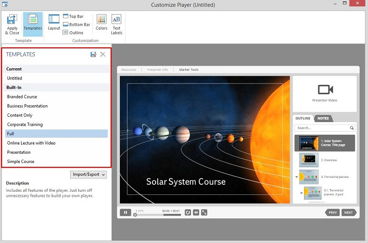 The Presentation Player's templates in Spring Suite 8