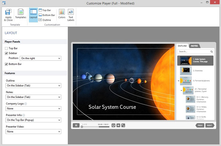 Customizing the layout of the Presentation Player
