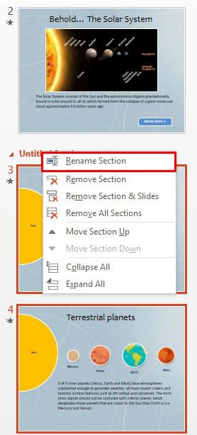 Renaming slide sections in PowerPoint