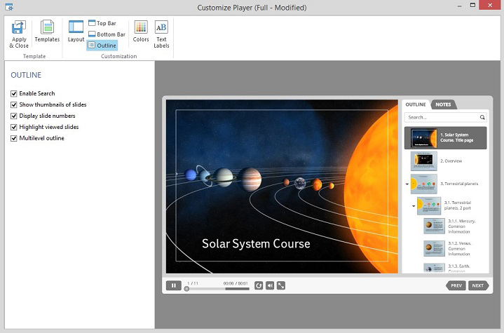 Customizing the outline of the Presentation Player