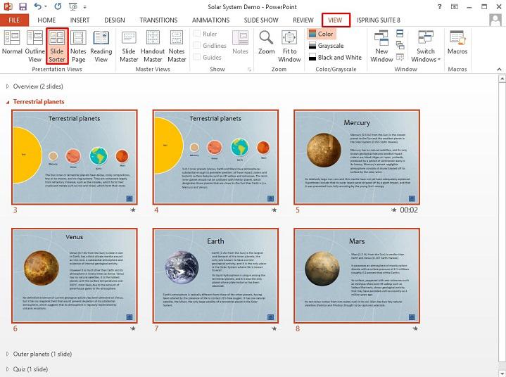 The Slide Sorter View in PowerPoint