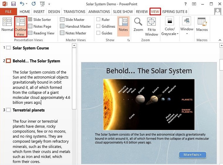 The Outline View in PowerPoint