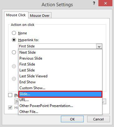 Adding a hyperlink to a certain slide