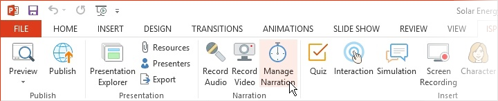 The Manage Narration button on the iSpring Suite 8 toolbar