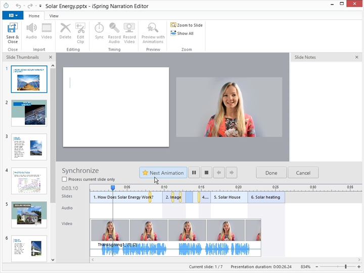 Synchronizing video with slides in iSpring Suite 8