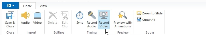 The Record Video button in the Narration Editor