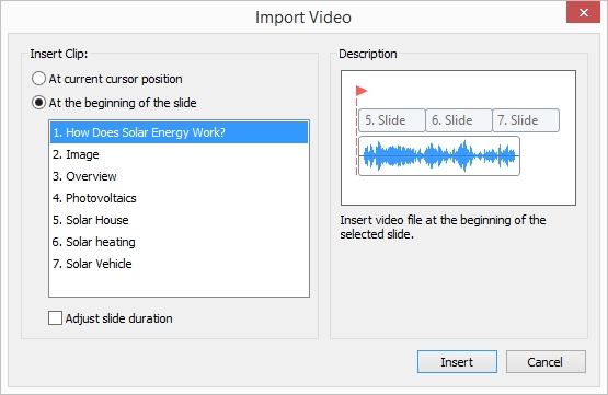 The Import Video window in iSpring Suite 8