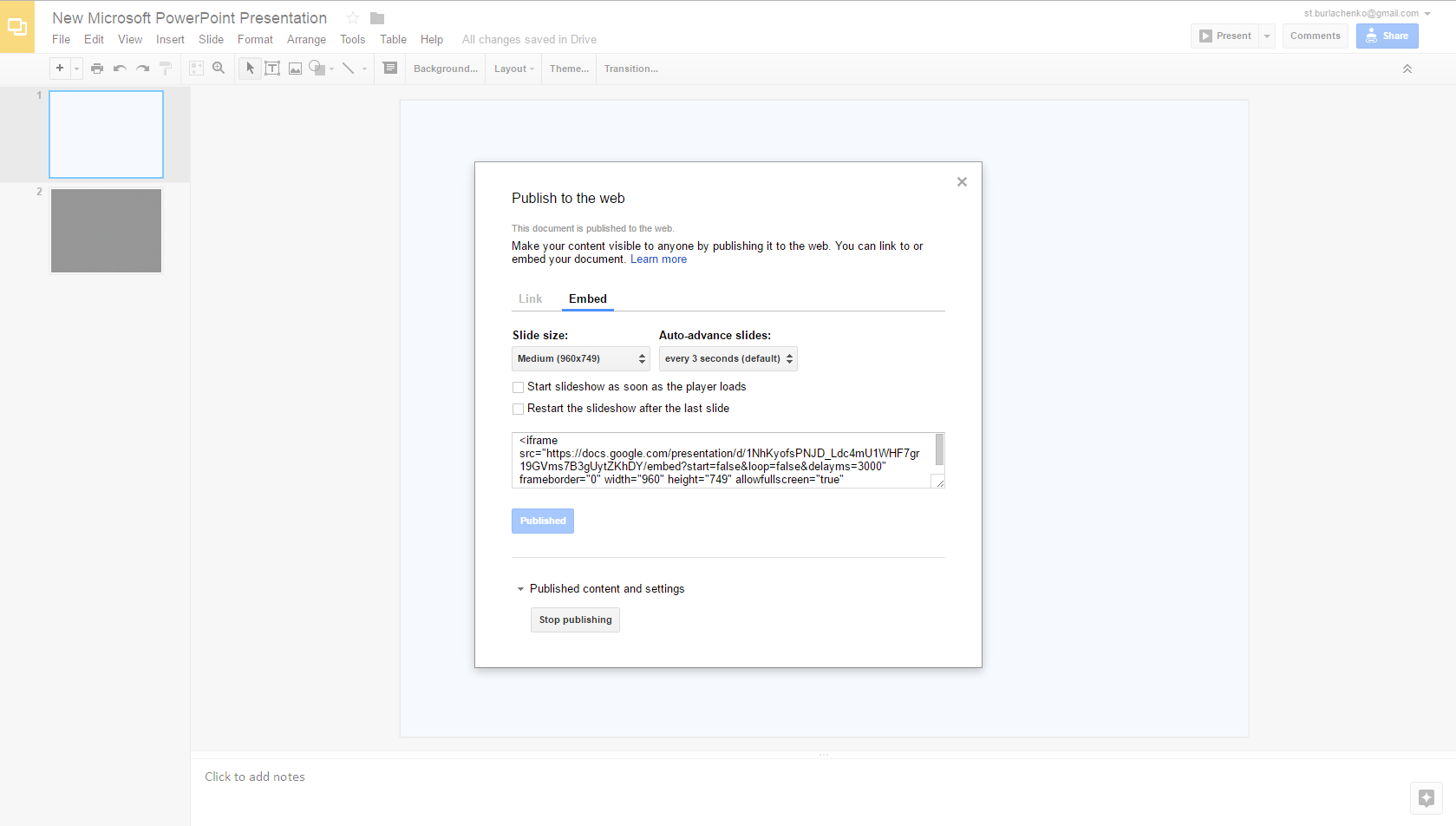 Google Drive embedding options