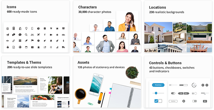 iSpring Content Library – Built-in e-Learning assets
