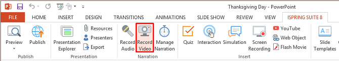 The Record Video button on the iSpring Suite toolbar