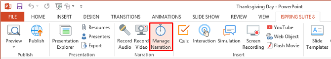 The Manage Narration button on the iSpring Suite toolbar