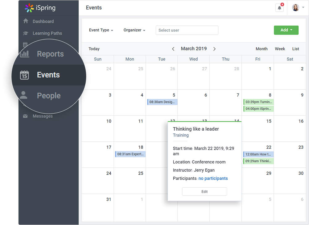 iSpring Learn LMS calendar