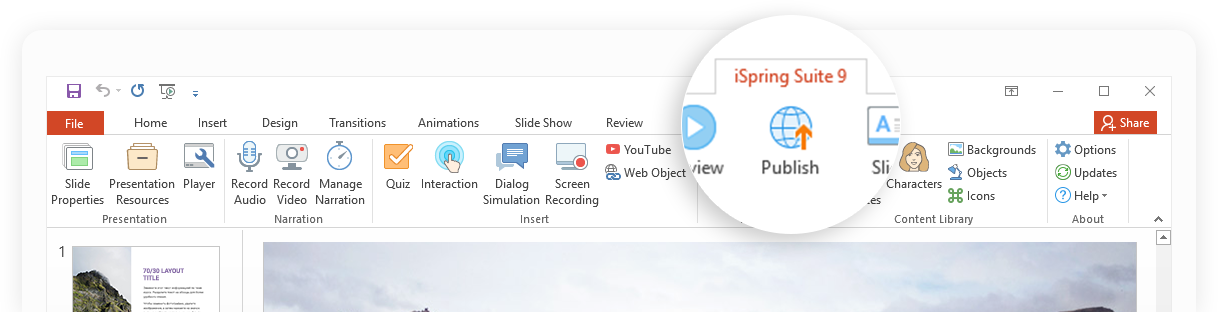 iSpring Suite toolbar in PowerPoint