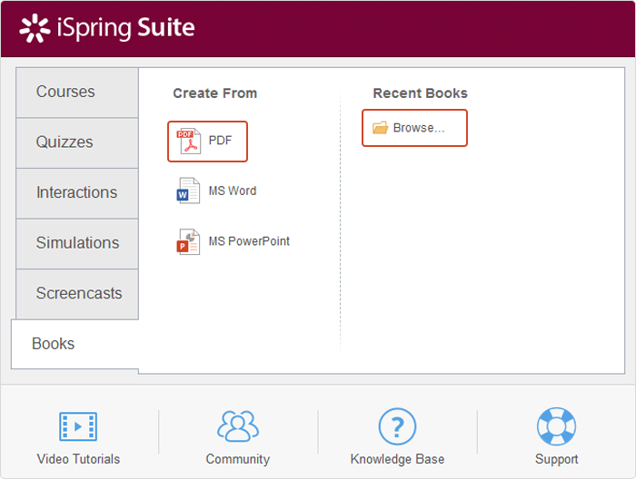 Built-in iSpring Suite PDF to SCORM converter