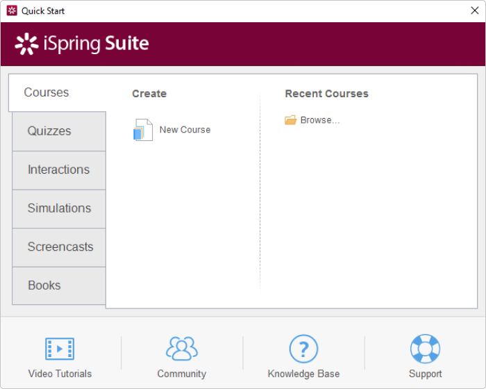 Built-in iSpring Suite MP4 to SCORM converter