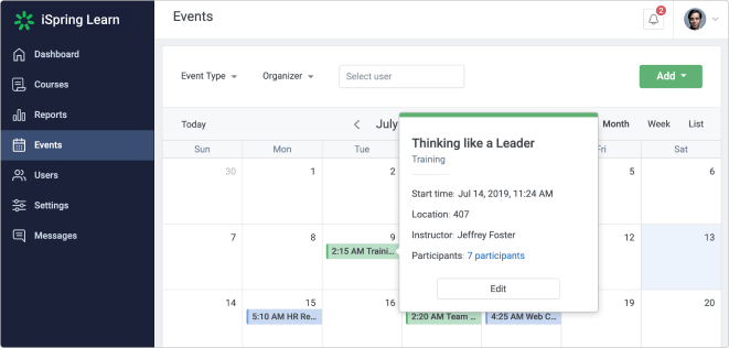 Events Calender in an LMS